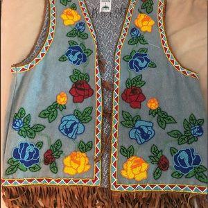 Hairston Roberson Denim Beaded Roses Vest